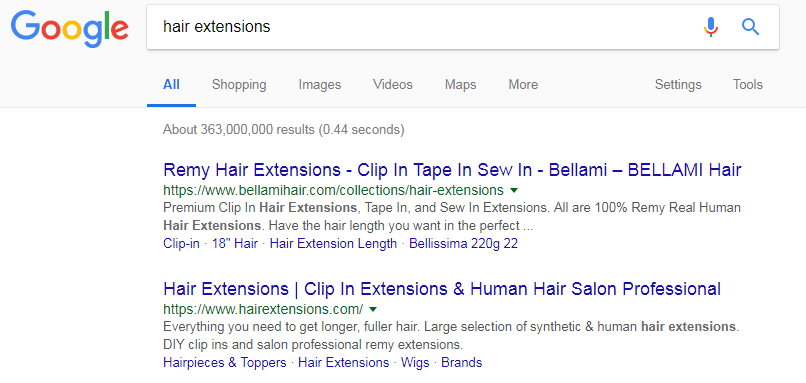 "A simple ""hair extensions"" Google Search"