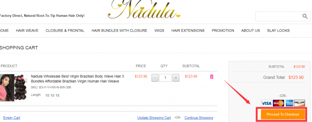 Nadula Hair Shopping Cart