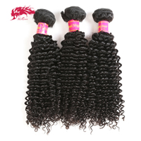 Ali Queen Hair Products Kinky Curly Brazilian Virgin Hair Weft 3 Bundle Deal Natural Color 100% Human Hair Weaving Free shipping