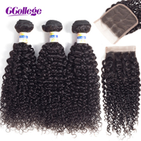 Ccollege Hair Extension Kinky Curly Malaysian Hair Bundles With Closure Remy Hair Weave Bundles Human Hair Bundles With Closure