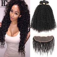 Malaysian Kinky Curly 3 Bundles With Frontal Human Hair Weave 13x4 Pre Plucked Lace Frontal Closure With Bundles Non Remy 4 Pcs