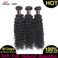 Ishow Brazilian Curly Hair Bundles 100% Curly Weave Human Hair Natural Color Non Remy Afro Kinky Curly Hair Extensions Promotion