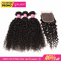 Klaiyi Hair Brazilian Kinky Curly Hair 3 Bundles With Closure 4Pcs/Lot Remy Hair Weave Human Hair Bundles With Closure