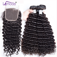 Malaysian Curly Human Hair Bundles With Closure Remy 3 Bundles Hair With Lace Closure LeModa Hair Extensions 4 PCS/lot