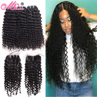 Mshere 4PCS/LOT Peruvian Deep Curly Hair 3 Bundles With Closure Non Remy Hair Free Part Lace Closure With Human Hair Bundles 1B#