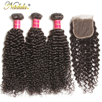 Nadula Hair Brazilian Curly Bundles With 4*4 Lace Closure Virgin Hair Bundles With Closure Natural Color Virgin Human Hair Weave