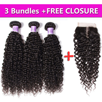 UNice Hair Kysiss Series 8A Brazilian Curly Virgin Hair 3PCS Send One Free Closure Hot Brazilian Curly Hair Bundles 8-26 Inch