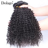 Malaysian Virgin Hair Kinky Curly Hair Weave Bundles Natural Black Color 100% Human Hair Extensions Dolago Hair Products