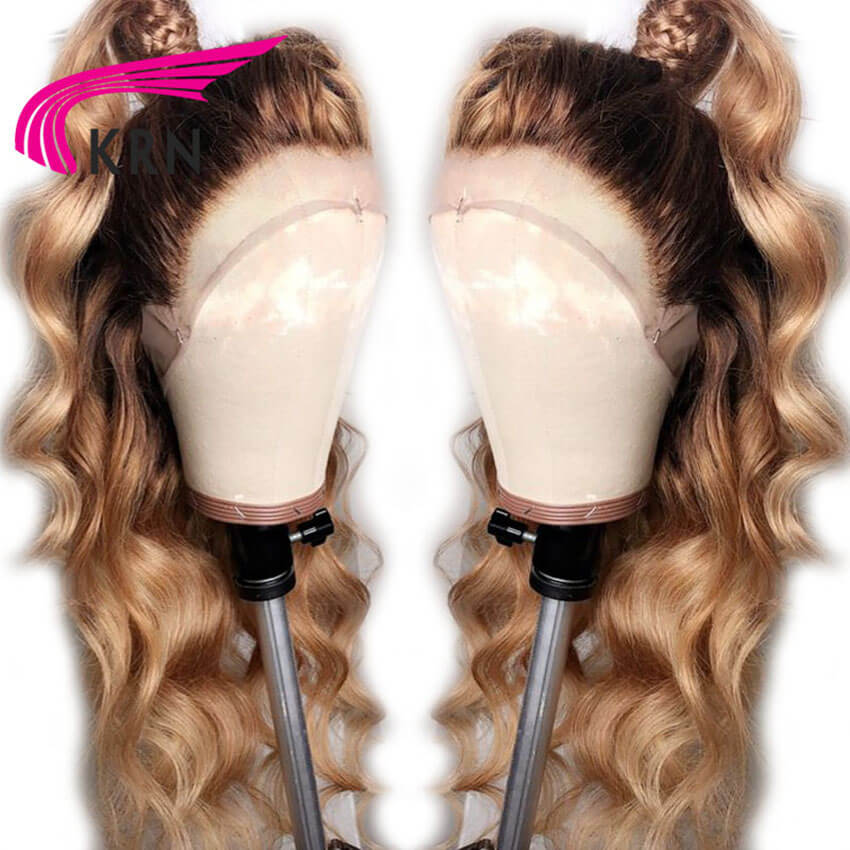 KRN #4/27 Ombre Body Wave 13x3 Lace Front Human Hair Wigs With Baby Hair