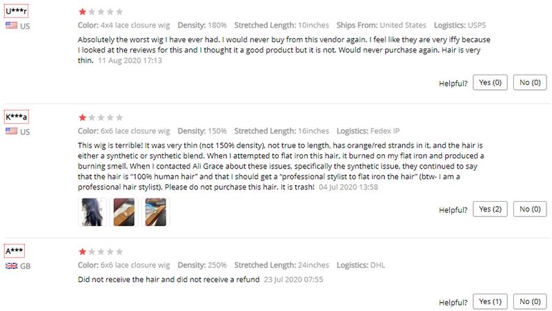 negative reviews on Ali Grace