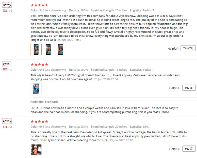 Customer reviews on Aliexpress