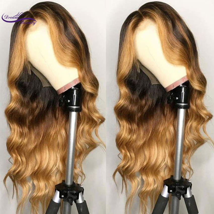 3、Dream Beauty Remy Human Wavy Ombre Blonde Lace Front Wig