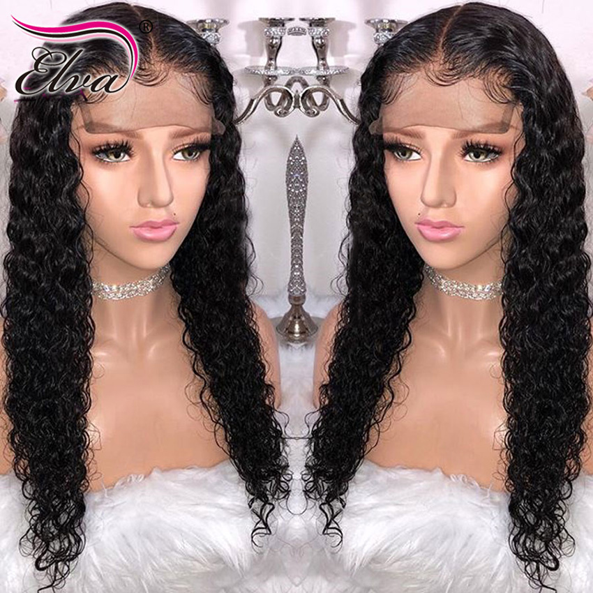 Elva Hair 13x6 Curly Lace Front Human Hair Wigs Pre Plucked Hairline