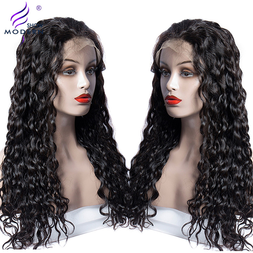 5、Modern Show Water Wave 13*4 Lace Frontal Human Hair Wigs Pre-Plucked Natural Hairline