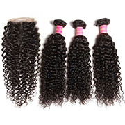 Curly Virgin Hair Weave 3 Bundles With Lace Closure 4x4 Nadula Unprocessed Human Hair Extensions
