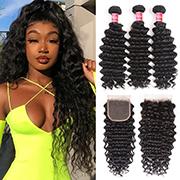 Deep Wave Virgin Hair Weave 3 Bundles With Lace Closure Nadula Soft Unprocessed Virgin Human Hair