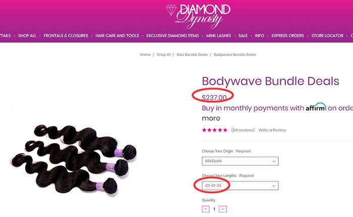 the price of diamond dynasty virgin hair