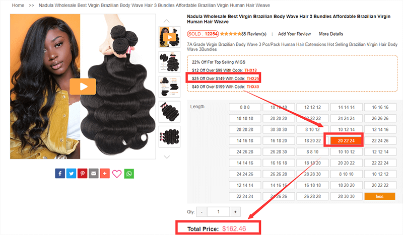 the price of nadula body wave hair