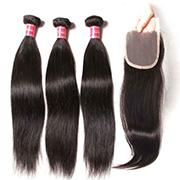 Nadula Straight Virgin Hair Weave 3 Bundles With Lace Closure Soft Unprocessed Virgin Human Hair