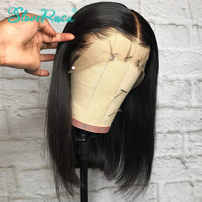 Slove Rosa 13x4 Lace Short Bob Wigs 130% Brazilian Remy Hair Can Be Dyed Lace Front Human Hair Wigs Pre-Plucked Bleached Knots
