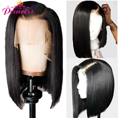 Beautiful Princess Hair 13x5 Short Lace Front Human Hair Wigs 150% Density Brazilian Straight Bob Lace Frontal Wig For Women Remy Wigs