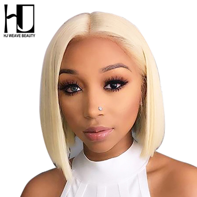 HJ WEAVE BEAUTY 13x6 Blonde Lace Front Wig Brazilian 1B 613 Short Bob Lace Front Human Hair Wigs For Black Women Transparent Lace Front Wig
