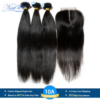 New Star Peruvian 10A Straight Virgin Hair 3 Bundles With Lace Closure Raw Hair Weaving Cuticle Aligned Hair Bundles And Closure