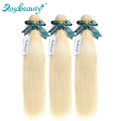 Rosabeauty Blonde Straight Human Hair 613 Color Hair Weave Bundles 1 3Pcs Remy Brazilian Hair 613 Blonde 10 to 30 Inches Bundles