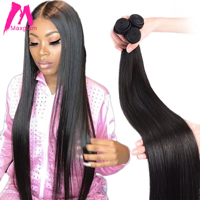 Maxglam brazilian hair extension bundles 8 to 30 40 inch human hair bundles non-remy natural straight short long hair weave 1 3 4 pieces