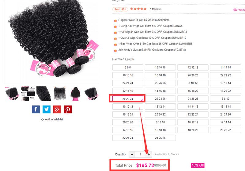 Alipearl hair's price of curly hair