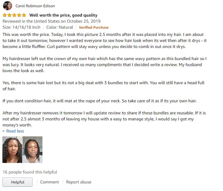 Amazon Reviews: Julia Hair