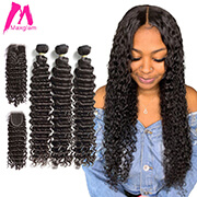 Brazilian Deep Wave Bundles With Closure Human Hair Extension 30 40 Inch Natural Weave 3 4 Bundles For Black Women Hd Lace Remy
