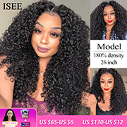 Water Wave Lace Front Human Hair Wigs 180% Density ISEE HAIR Lace Closure Wigs For Women Mongolian Water Wave Lace Closure Wigs