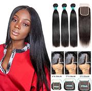 Ali Grace Hair Brazilian Straight Hair Bundles With Closure Virgin Human Hair 3 Bundles With Closure