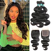 Ali Grace Hair Body Wave Hair With Closure 100% Virgin Human Hair 3 Bundles With Swiss Lace Closure