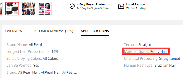 aliexpress rate the grade of alipearl hair material